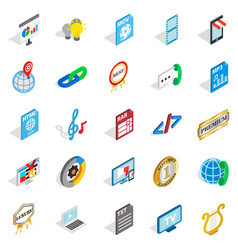 Hi-fi system icons set isometric style vector