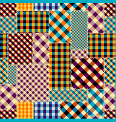 imitation of a plaid patchwork seamless pattern vector image