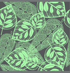 imprint leaves - seamless pattern green leaves on vector image