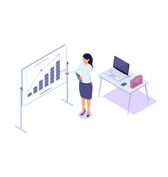 isometric 3d young businesswoman presentation vector image