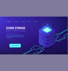 isometric cloud storage landing page concept vector image