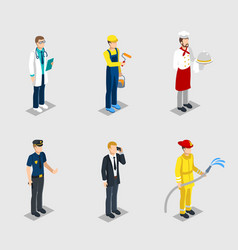 isometric male characters professions set vector image