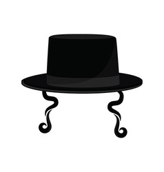 Jewish hat with sideburns vector