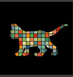 kitten cat pet color silhouette animal vector image