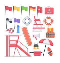 lifeguard equipment flat icons set vector image