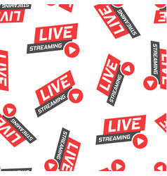 live video icon seamless pattern background vector image