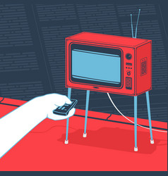 man watching tv concept vector image