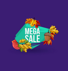 Mega sale geometric label with autumn leaves vector