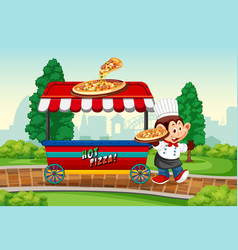 monkey with pizza vender vector image