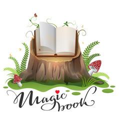 open magic book on stump cartoon vector image