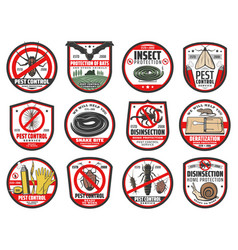 Pest control icons disinfection and extermination vector