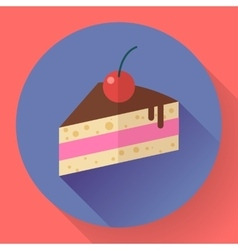 piece cake with cherry icon modern minimal vector image