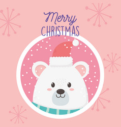 polar bear with hat snowflakes merry christmas tag vector image