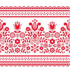 Polish folk art seamless design with flower vector