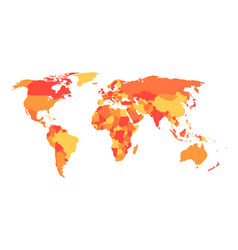 political map of world in four shades of orange vector image