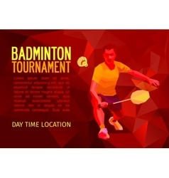 Polygonal badminton player sports poster vector image