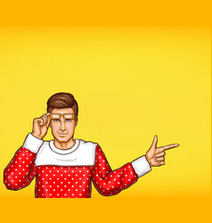 pop art man indicating or pointing with finger vector image