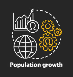 Population growth chalk concept icon world human vector