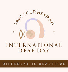 Quote for international deaf day emblem concept vector