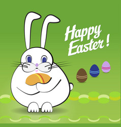 rabbit and easter eggs vector image