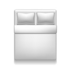 Realistic detailed 3d template blank white bed vector