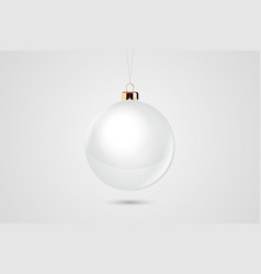 realistic white 3d christmas glossy glass vector image