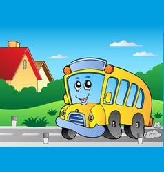 Road with school bus 2 vector