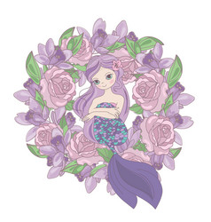 Rose mermaid floral flower wreath vector