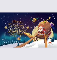 santa in a winter village riding on a sleigh vector image