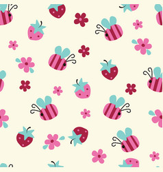 Seamless pattern with flowers bees and vector