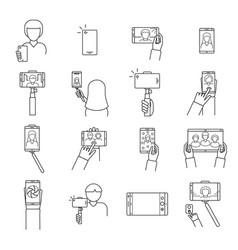 selfie photo signs black thin line icon set vector image