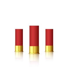 set cartridge for shotgun red realistic vector image