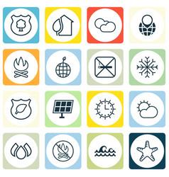 Set of 16 eco icons includes cigarette bonfire vector