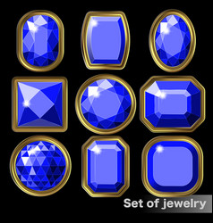 Set of blue gems sapphire of various shapes vector