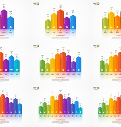 set of column chart infographic templates vector image