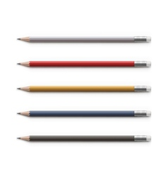 Set of Multicolored Pencils with Erasers Isolated vector image
