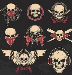 Set of skulls emblems T-shirt print templates vector