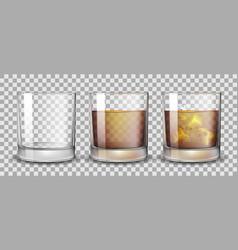 set whiskey rum bourbon or cognac glasses vector image