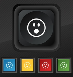 Shocked Face Smiley icon symbol Set of five vector image