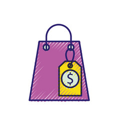 shopping paper bag with price tag commerce vector image