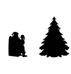 silhouette kid talking and sitting on knees santa vector image