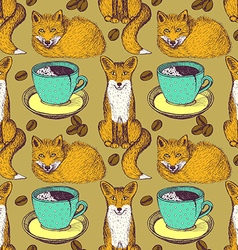 Sketch foxes and coffee vector