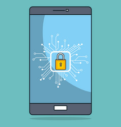 smartphone with data center icons vector image