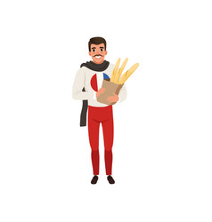 smiling french man character dressed in vector image