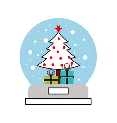 snow globe and christmas fir tree decorated with vector image