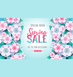 spring big sale poster with full blossom flowers vector image