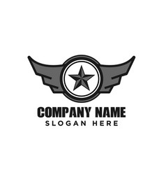 star and wings military emblem logo design vector image