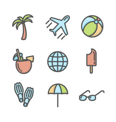 Summer vacation colored icons set 02 vector