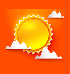 Sun and clouds on orange vector