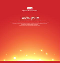 Sun rising with bright red sky background vector